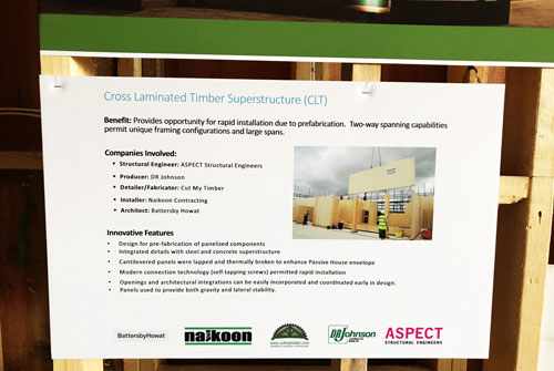 signage with information CLT, CLT timber, CLT panels, Cross laminated timber suppliers, Naikoon Contracting Ltd. Cut my timber and aspect